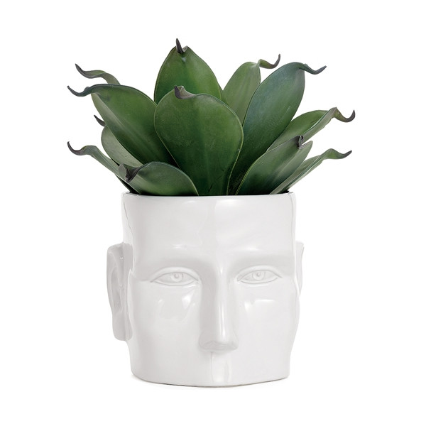 Torre & Tagus Face Vase, Small, White