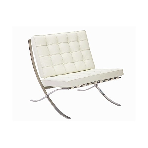 MCM Barcelona Style Modern Pavilion Chair (Cream White) - High Quality Italian Leather with Stainless Steel Frame - HS004WIL-2