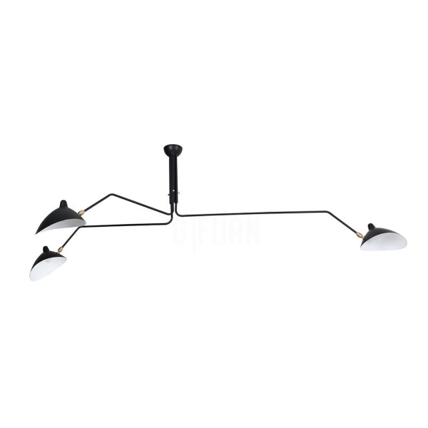 Reproduction of Serge Mouille Three-Arm Pendant Lamp, Black