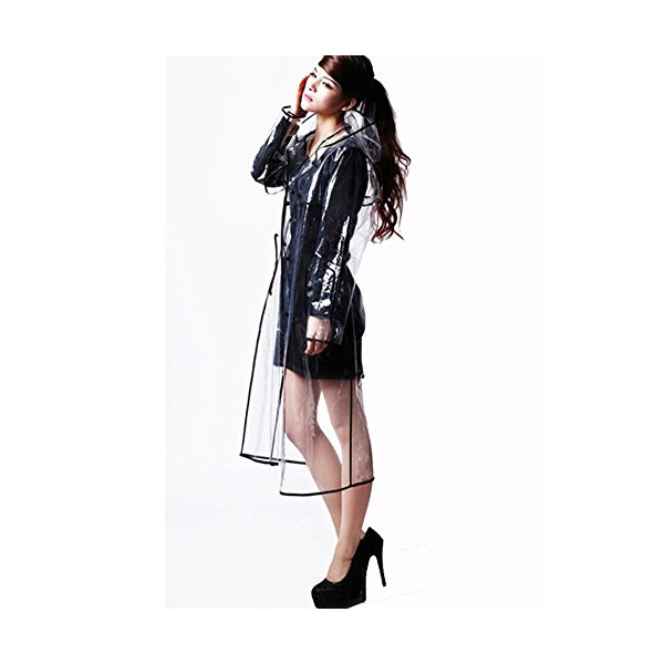 New Long Transparent Raincoat Runway Unisex Womens Girls Men Clear Rain Coat