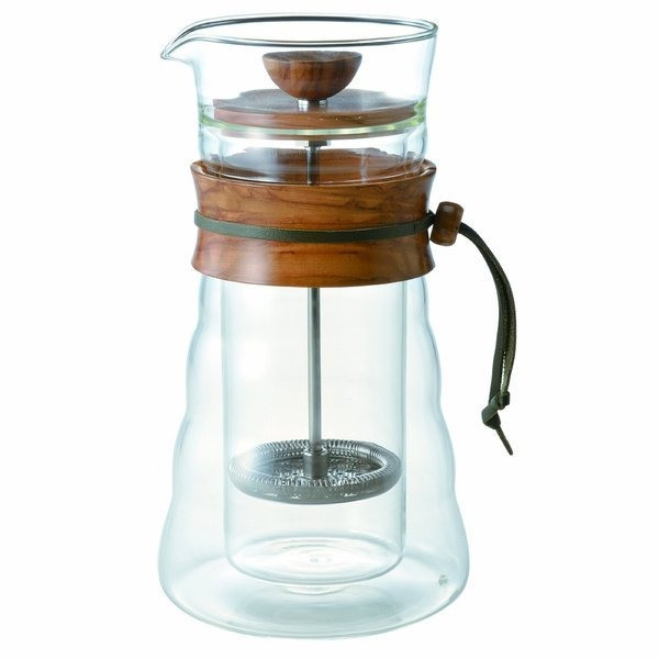 Hario Coffee Press Double Wall Glass Olive Wood