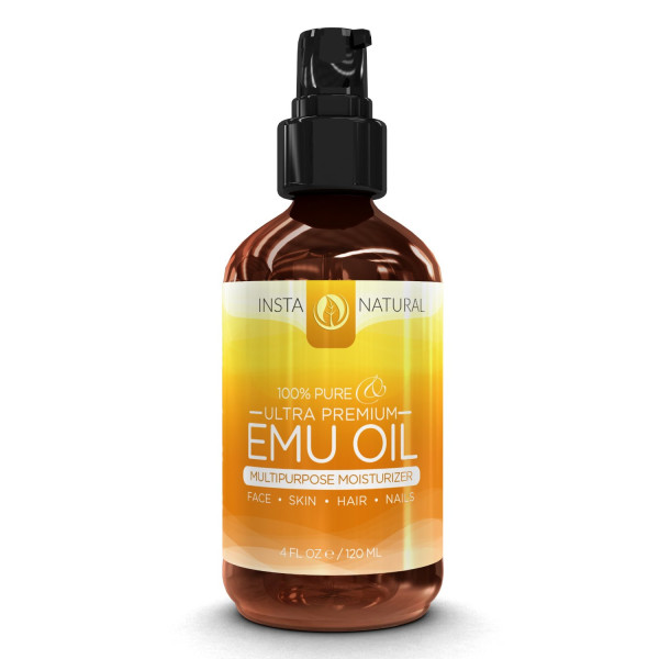 InstaNatural 100% Pure Emu Oil - Best Natural Oil For Face, Skin, Hair Growth, Stretch Marks, Scars, Nails, Muscle & Joint Pain, and More - 4 ounces