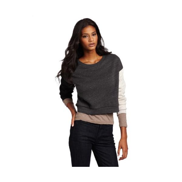 Cheap Monday Women's Terumi Sweat, Charcoal/pale beige/black melange, Large