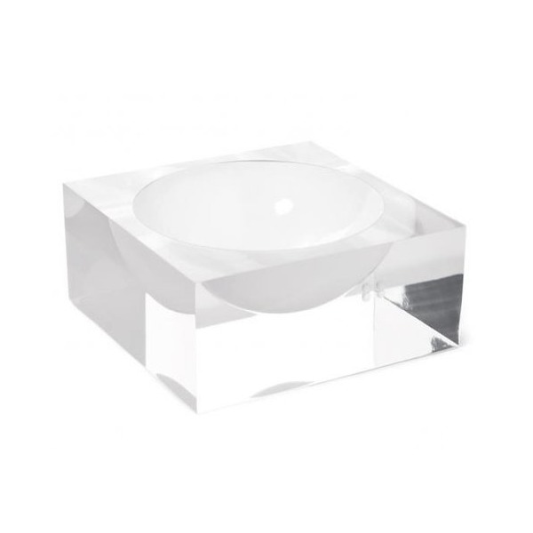 Jonathan Adler White Bel Air Small Square Bowl Lucite Vase