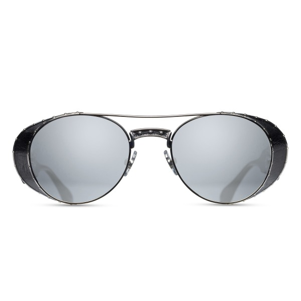 Matsuda M3032 Round Polarized Sunglasses with Mirrored Lenses