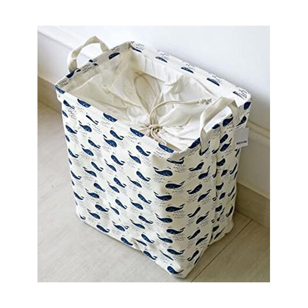 Fashion Large Square Beam Lanudry Basket Household Debris Storage Hamper Basket (whales)