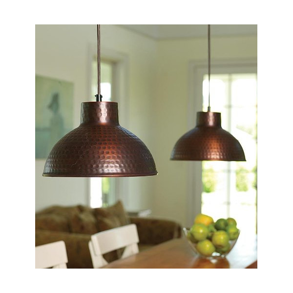 Screw-In Antique Hammered Copper Pendant Lighting With Adjustable Cord
