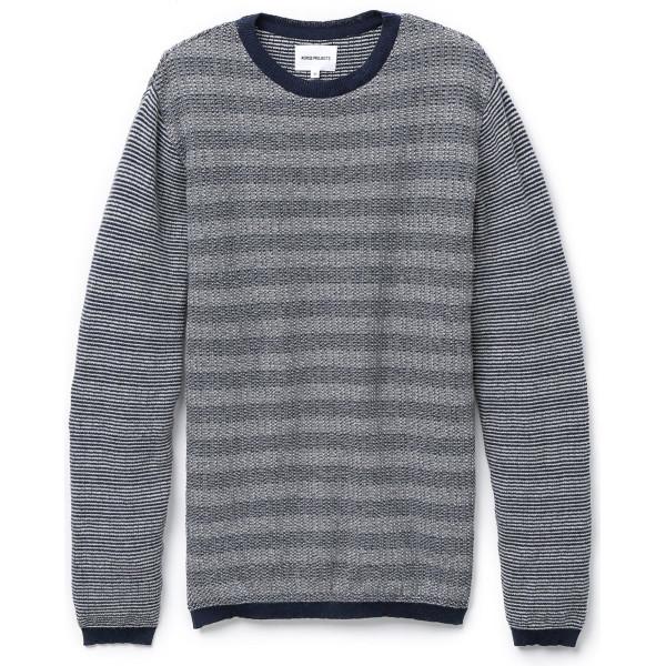 Norse Projects Men's Sigfred Denim Stitch Sweater, Dark Navy