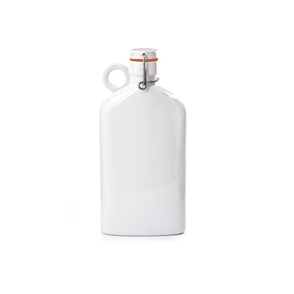 Kikkerland Ceramic Flask, 10 oz, White