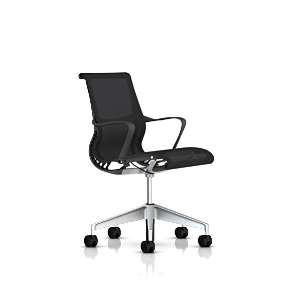 Setu Chair by Herman Miller: Ribbon Arms - Standard Carpet Casters - Slate Grey Frame/H-Alloy Base/Slate Grey Lyris