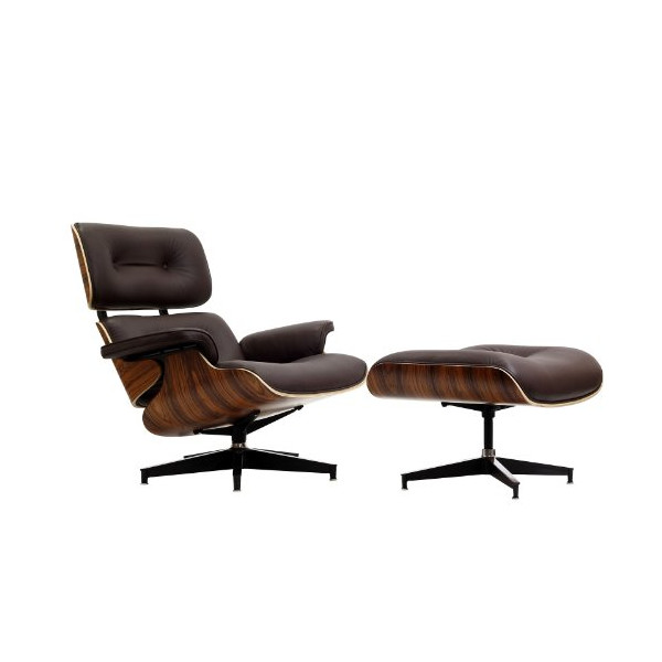 LexMod Eaze Lounge Chair in Brown Leather and Palisander Wood