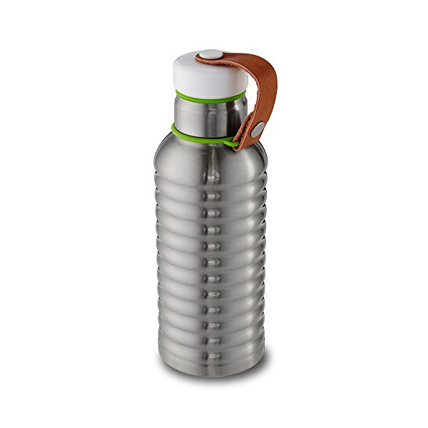 Vacuum Insulated Water Bottle - Stainless Steel Hot/Cold Drink Container - Vegan Leather Carry Strap - 17 fl oz