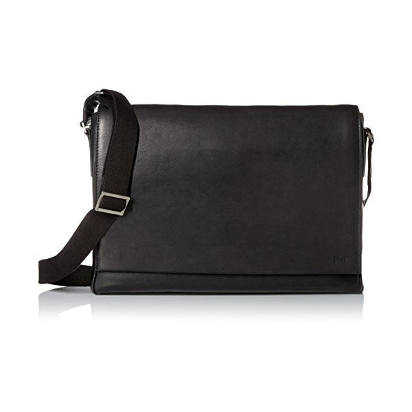 Jack Spade Men's Fulton Leather Messenger, Black, One Size