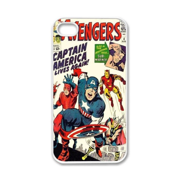 Apple iPhone 5 Avengers Vintage Comic Book Design WHITE Sides Slim HARD Case Skin Cover Protector Accessory Vintage Retro Unique AT&T Sprint Verizon Virgin Mobile Comes in Case Cartel Box Packaging
