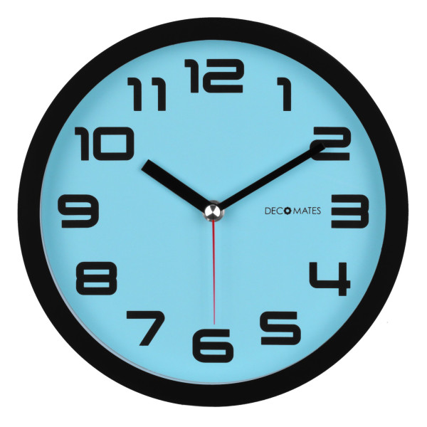 DecoMates Non-Ticking Silent Wall Clock, Color Block, Blue Frost