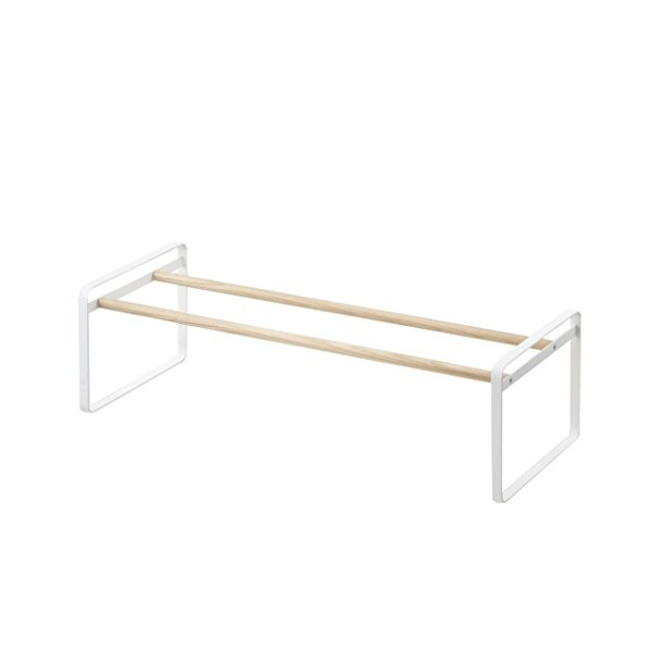 "One Shelf Shoe Rack in White Finish - 25""L x 7""H x 10""W"