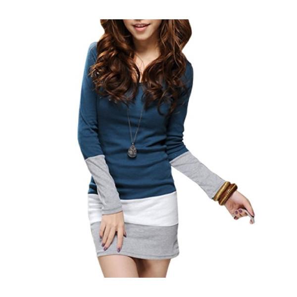 Allegra K Women Scoop Neck Long Sleeve Bar Striped Hem Tunic Shirt