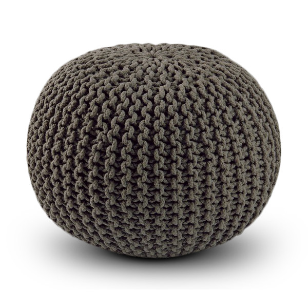 100% Cotton, Hand Knitted Dori Pouf Ottoman, Grey