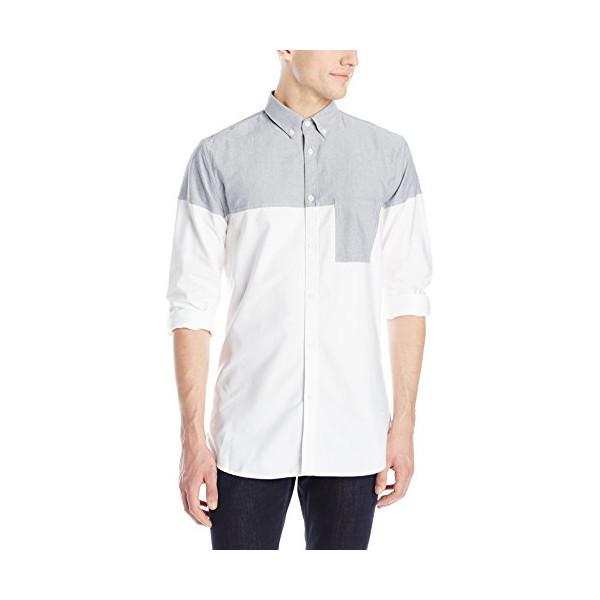Zanerobe Men's Colorblock Seven Feet Long-Sleeve Button-Down Shirt Tee, Grey/White, Medium