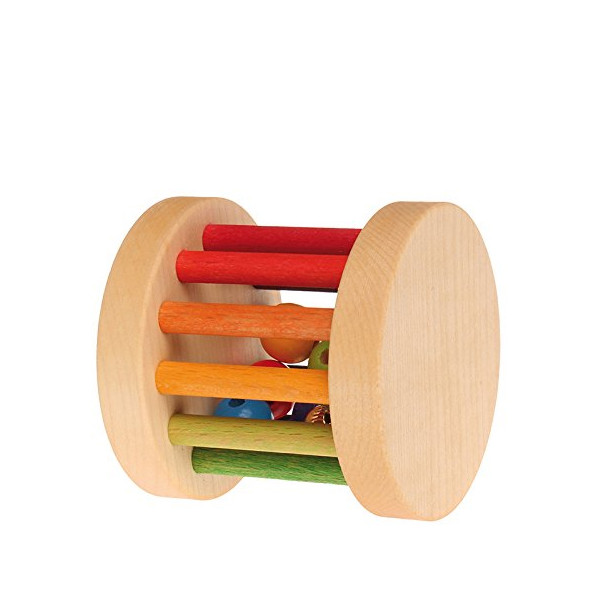 Grimm's Shake, Rainbow Rattle & Roll Wheel Baby Toy