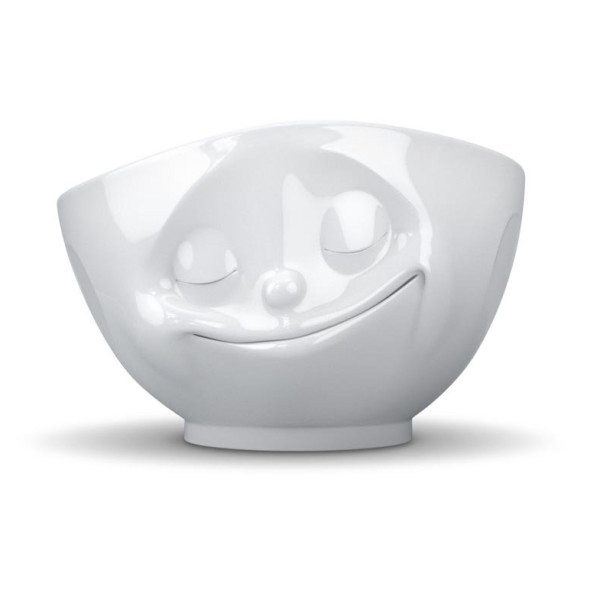 Tassen White Porcelain Face Bowls, Happy