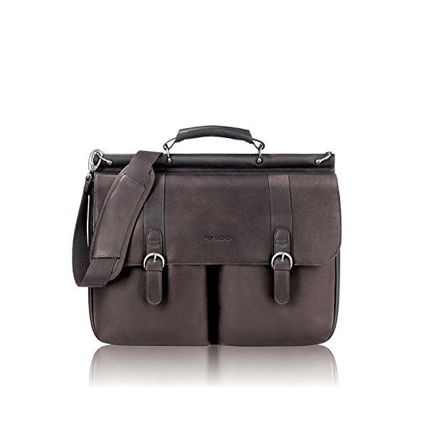 "SOLO Classic Collection Colombian Leather Executive 16"" Leather Briefcase Portfolio, Dark Brown (D535-3)"