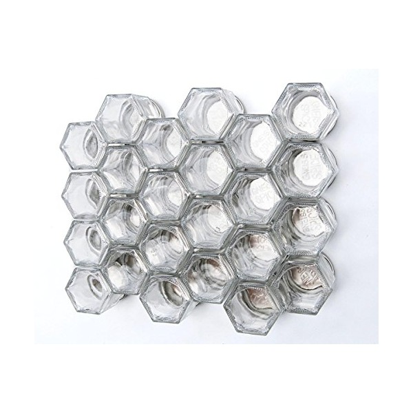 "DIY HEX 24 SILVER: Magnetic Spice Rack (Includes 24 EMPTY Hexagonal Glass Jars, Silver Magnetic Lids and Clear 1"" Labels w/ Spice Names) by Gneiss Spice"