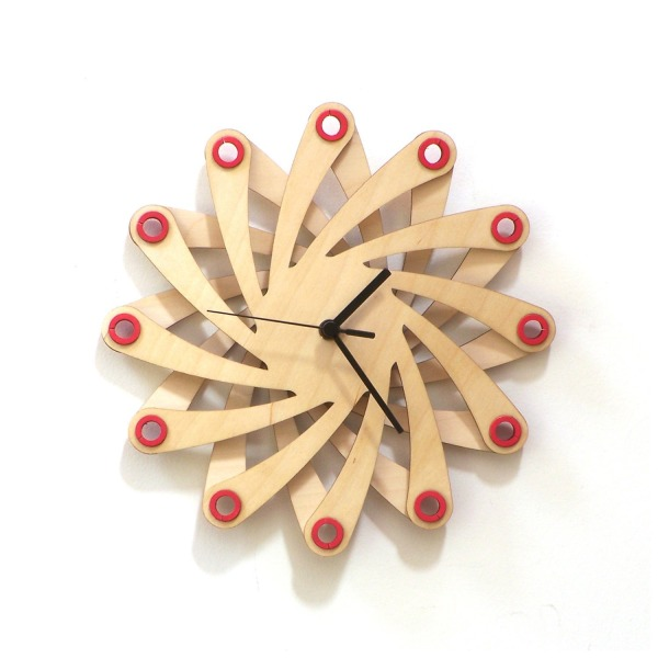 Galaxy - contemporary stylish wall clock made of bent plywood, wooden wall clock, wood wall art, without glue
