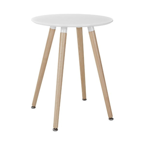 LexMod Track Circular Side Table, White