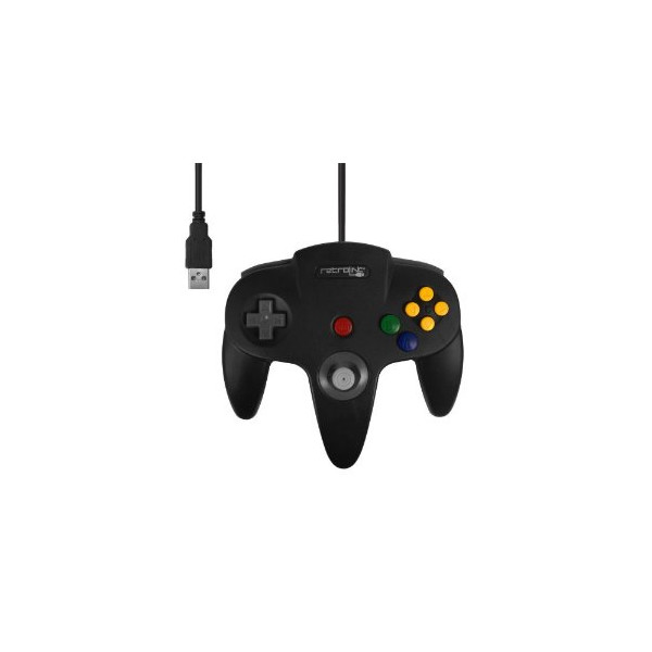 NINTENDO 64 CLASSIC USB ENABLED CONTROLLER(WIRED),BY RETROLINK, FOR PC & MAC (BLACK COLOR)