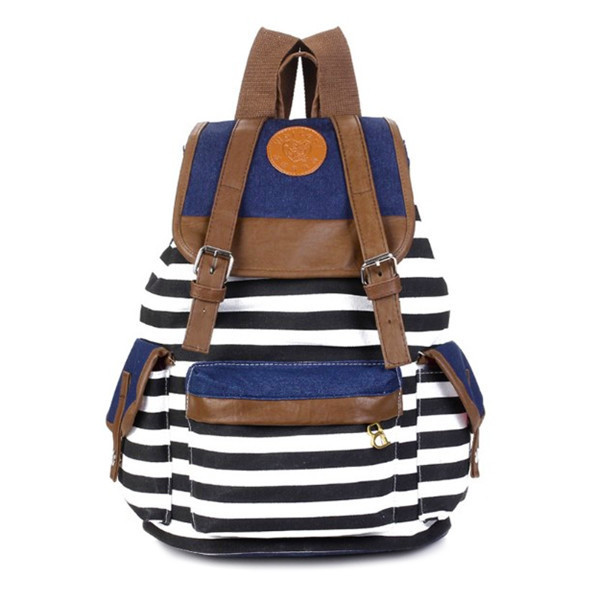 SUPON Canvas Stripe School Bag