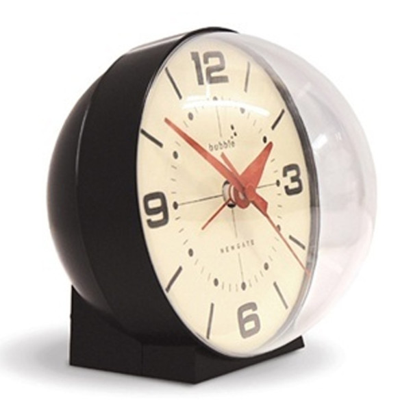 Newgate Bubble Mantel Alarm Clock, Black with Cream Face