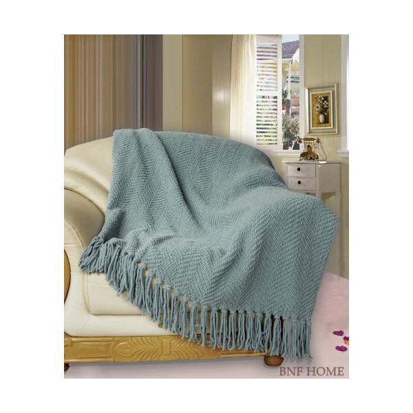 BNF HOME - Throw - Knitted Tweed Throw Couch Cover Blanket 50x60 inches Silver Blue