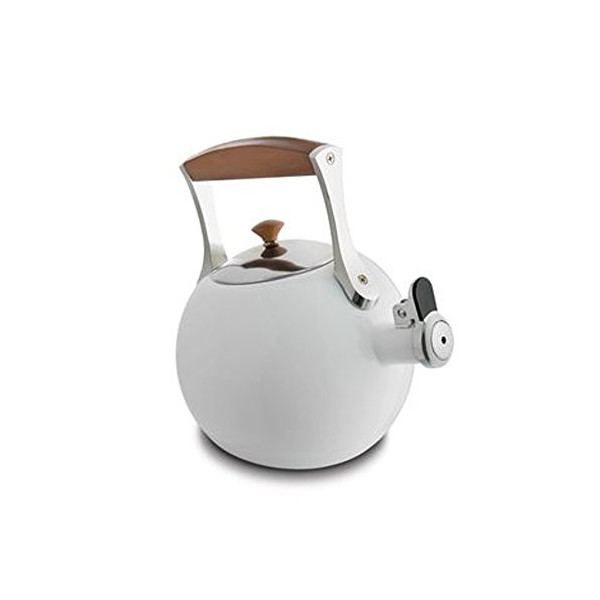 Nambe Meridian White Enameled Tea Kettle