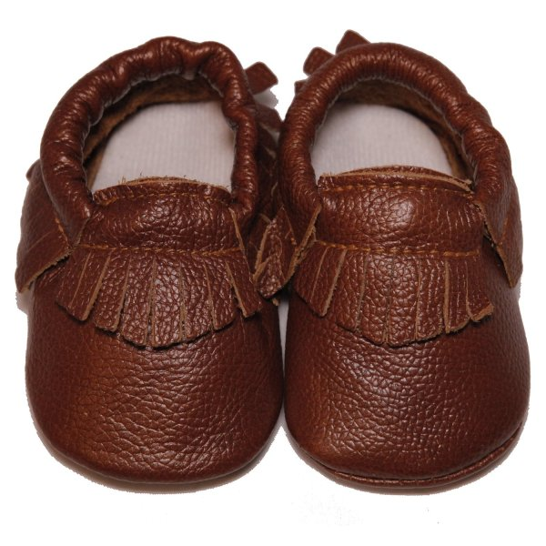 Baby Conda Unisex Light Brown Handmade Soft Sole Leather Slip on Shoes Baby Moccasins Size 0 - 6 Months