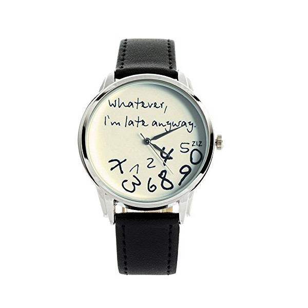 ZIZ Black-White Whatever, I'm Late Anyway Watch Unisex Wrist Watch, Quartz Analog Watch with Leather Band