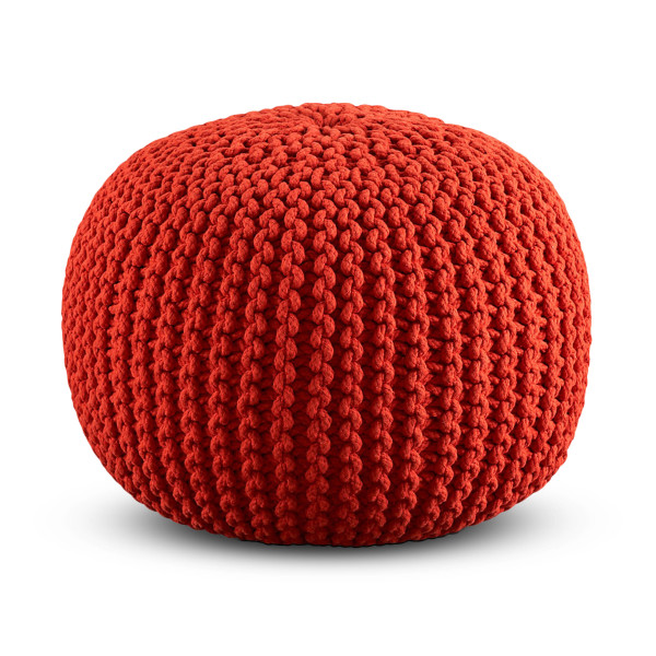 Cotton Craft Hand Knitted Dori Pouf, Orange