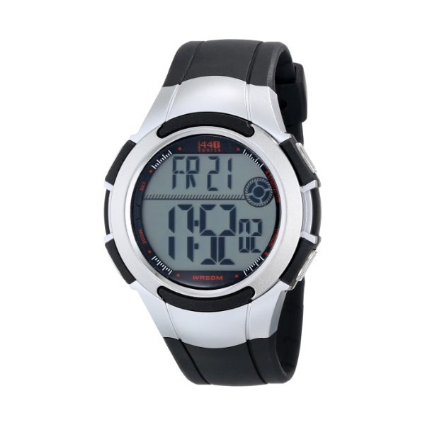 "Timex Men's T5K237 1440 ""Sports"" Digital Watch with Black and Silver-Tone Resin Band"