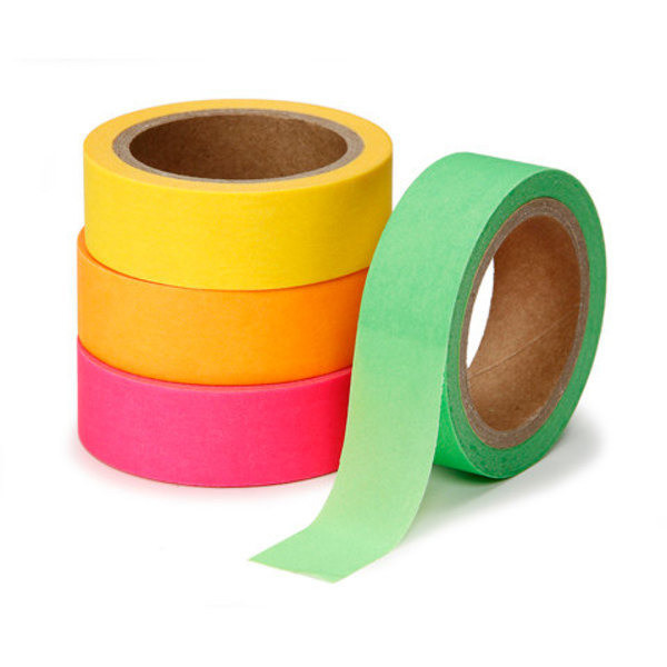 Washi Neon Tape Rolls, 4-Pack