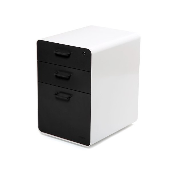 "Poppin Locking Steel File Cabinet, 3-drawer, 24"" Tall"