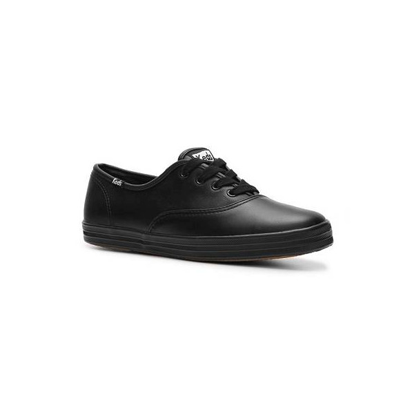 Keds Women's Champion Leather Sneaker, Black Leather