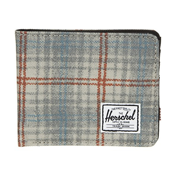 Herschel Supply Roy Bi-Fold Wallet - Men's Grey Plaid/Black, One Size