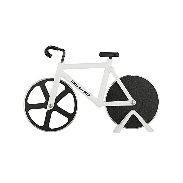 "TOUR de PIZZA - Pizza Cutter Bicycle with Display Stand - Dual 3"" inch Stainless Steel Wheel Blades for Effortless Slicing - The Perfect Kitchen Talking Point & A Very Cool Gift"