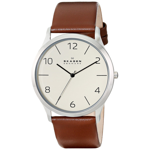 Skagen Men's SKW6150 Jorn Stainless Steel Watch with Brown Leather Band