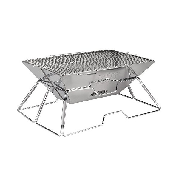 Quick Grill Large: Original Folding Charcoal BBQ Grill Made from Stainless Steel. Portable and Great for Camping, Picnics, Backpacking, Backyards, Survival, Emergency Preparation.