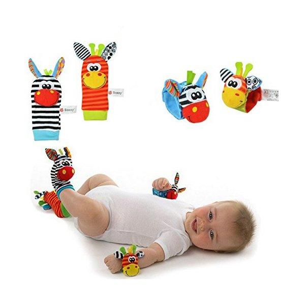 Tasny Socks Baby Funny Wrist Rattles Socks Baby Toys Zebra Giraffe Doll