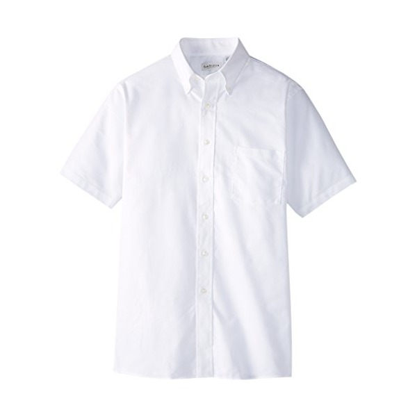Van Heusen Short Sleeve Oxford Dress Shirt, White, Large