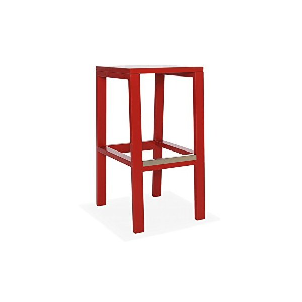 "Cain Red Oak 30"" Kitchen Stool - Red - Solid Seat"