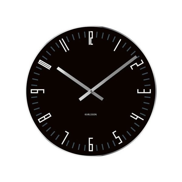 Karlsson Wall Clock Slim Index Glass with Mirror Edge, Black