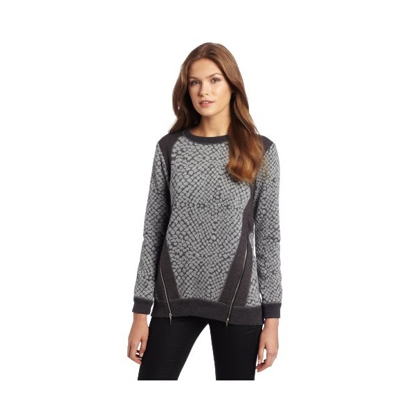 Rebecca Taylor Women's Crocodile Jacquard Pullover with Zip, Charcoal, 4